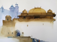 Landscape Watercolor Art Painting title 'Landing At The Kings' by artist Prashant Prabhu