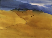 Prashant Prabhu Paintings | Watercolor Painting - Minimalists Indian Summer by artist Prashant Prabhu | ArtZolo.com