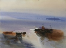 Prashant Prabhu | Watercolor Painting title Mooring In The Mystique 22x30 on Paper | Artist Prashant Prabhu Gallery | ArtZolo.com