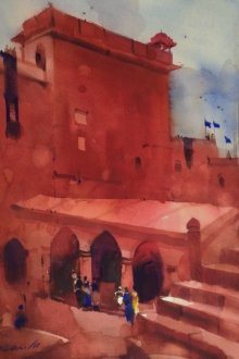 Landscape Watercolor Art Painting title 'Your Graceful Heritage' by artist Prashant Prabhu