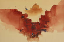 Landscape Watercolor Art Painting title 'Your Graceful Welcome 15x23' by artist Prashant Prabhu