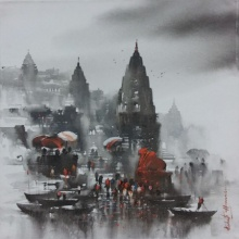 Cityscape Acrylic Art Painting title 'Banaras Ghat 2' by artist Ashif Hossain