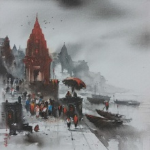 Cityscape Acrylic Art Painting title 'Banaras Ghat 4' by artist Ashif Hossain