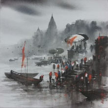 Cityscape Acrylic Art Painting title 'Banaras Ghat 3' by artist Ashif Hossain