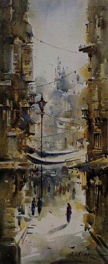 Cityscape Acrylic Art Painting title Kolkata Streets 1 by artist Ashif Hossain
