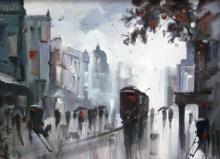 Cityscape Acrylic Art Painting title Old Kolkata by artist Ashif Hossain