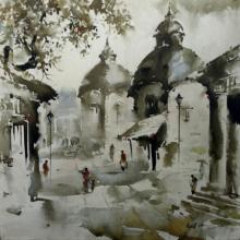 Cityscape Acrylic Art Painting title Sacred Village by artist Ashif Hossain