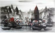 Cityscape Acrylic Art Painting title 'Banaras Ghat 53' by artist Ashif Hossain