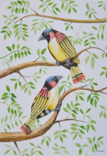 Animals Postercolor Art Painting title 'Birds 2' by artist Santosh Patil