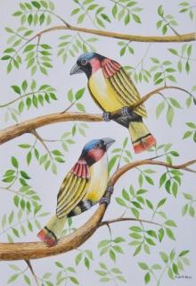 Birds 2 | Painting by artist Santosh Patil | postercolor | Paper