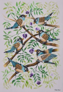 Birds Painting 49 | Painting by artist Santosh Patil | postercolor | Paper