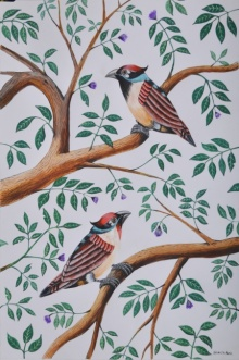 Animals Postercolor Art Painting title 'Birds Painting 47' by artist Santosh Patil