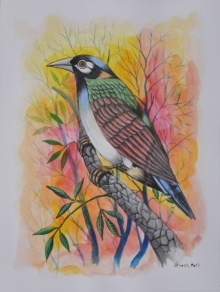 Animals Postercolor Art Painting title 'Birds PAINTING 57' by artist Santosh Patil