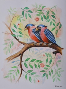 Santosh Patil | Watercolor Painting title Birds Painting 19 on - | Artist Santosh Patil Gallery | ArtZolo.com