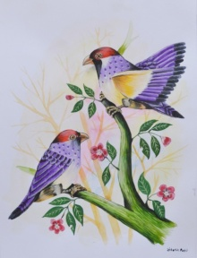 Animals Postercolor Art Painting title 'Birds Painting 21' by artist Santosh Patil