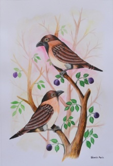 Animals Postercolor Art Painting title 'Birds Painting 22' by artist Santosh Patil