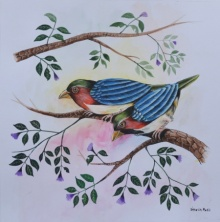 Santosh Patil | Postercolor Painting title Birds Painting 23 on paper | Artist Santosh Patil Gallery | ArtZolo.com
