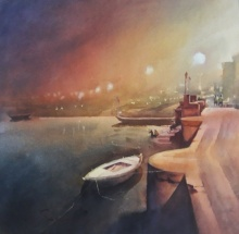 art, beauty of banaras, watercolor on paper