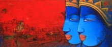art, beauty, acrylic, painting, canvas, religious, lord ram and laxman