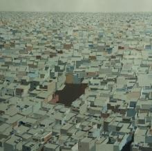 Cityscape Acrylic Art Painting title 'Untitled 5' by artist Madan Pawar