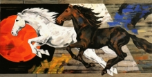 Animals Acrylic Art Painting title 'Galloping Horses' by artist Devidas Dharmadhikari