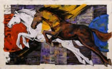 Animals Acrylic Art Painting title 'HORSE SERIES -160' by artist Devidas Dharmadhikari