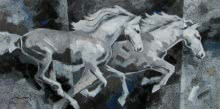 Animals Acrylic Art Painting title 'Running White Horses' by artist Devidas Dharmadhikari