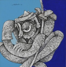 Mahavir Verma | Acrylic-ink Painting title Untitled 1 on paper | Artist Mahavir Verma Gallery | ArtZolo.com
