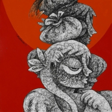 Mahavir Verma | Mixed-media Painting title Untitled 12 on Paper | Artist Mahavir Verma Gallery | ArtZolo.com
