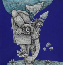 Mahavir Verma | Mixed-media Painting title Untitled 13 on Canvas | Artist Mahavir Verma Gallery | ArtZolo.com