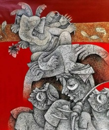 Mahavir Verma | Acrylic Painting title Untitled 1 on Canvas | Artist Mahavir Verma Gallery | ArtZolo.com