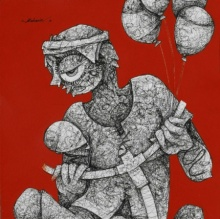 Mahavir Verma | Acrylic-ink Painting title Untitled 3 on paper | Artist Mahavir Verma Gallery | ArtZolo.com