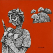 Mahavir Verma | Acrylic-ink Painting title Untitled 4 on paper | Artist Mahavir Verma Gallery | ArtZolo.com