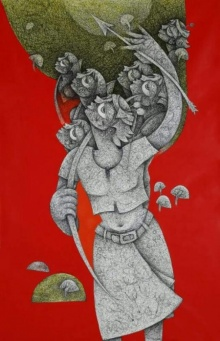 Mahavir Verma | Acrylic-ink Painting title Untitled 5 on canvas | Artist Mahavir Verma Gallery | ArtZolo.com