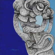Mahavir Verma | Acrylic-ink Painting title Untitled 7 on paper | Artist Mahavir Verma Gallery | ArtZolo.com