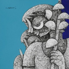 Mahavir Verma | Acrylic-ink Painting title Untitled 8 on paper | Artist Mahavir Verma Gallery | ArtZolo.com
