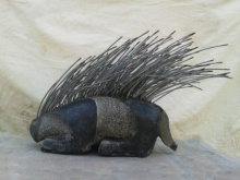 Ashwam Salokhe | Porcupine Sculpture by artist Ashwam Salokhe on stone and metal | ArtZolo.com