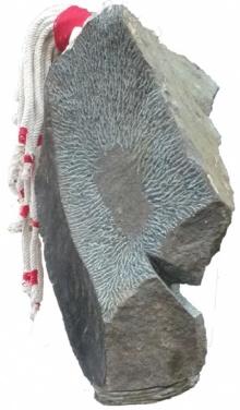 Ashwam Salokhe | Selfportreat Sculpture by artist Ashwam Salokhe on stone and thread | ArtZolo.com