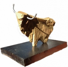 Ashwam Salokhe | Yak Sculpture by artist Ashwam Salokhe on stone and metal | ArtZolo.com