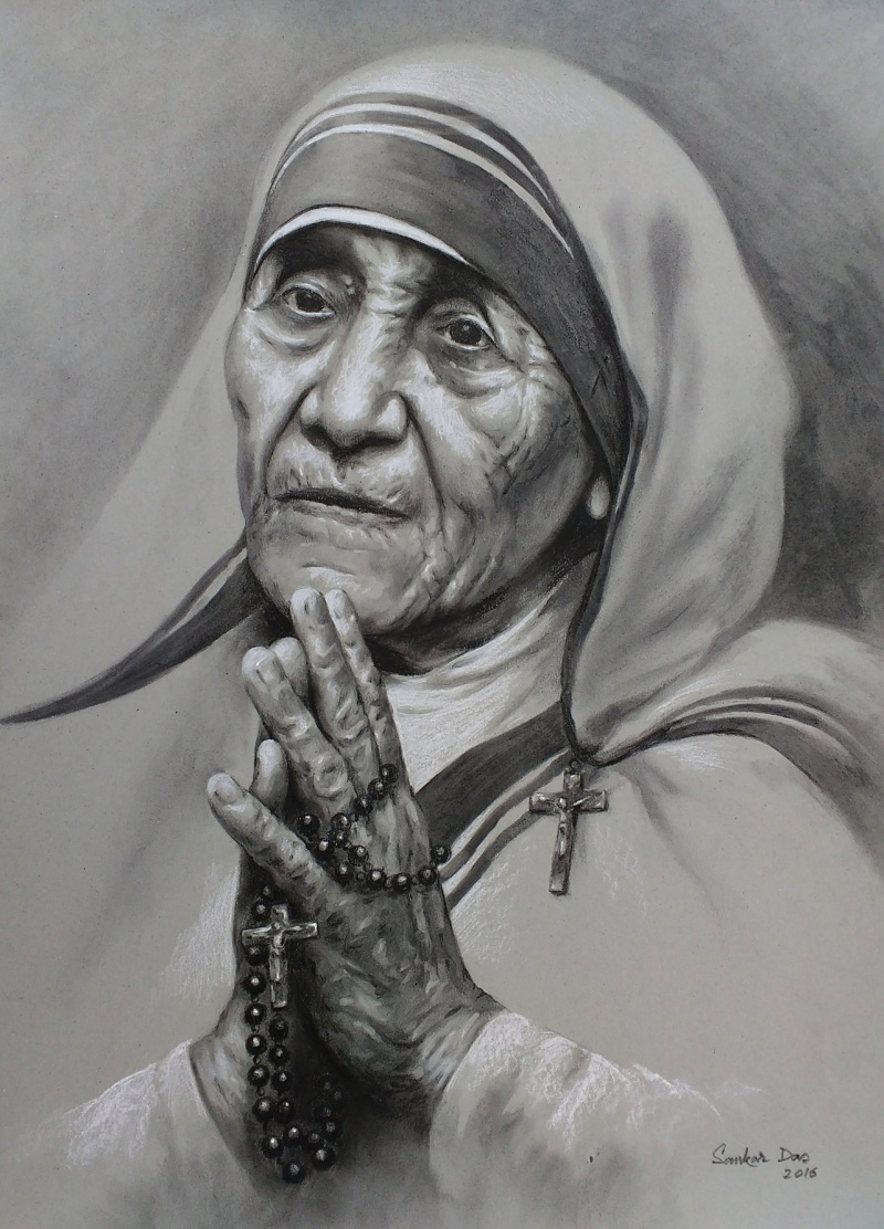 Mother teresa 1 drawing by artist sankar das charcoal pastel paper