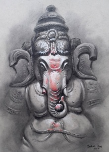 Lord Ganesha | Drawing by artist Sankar Das |  | charcoal-pastel | paper