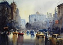 Monsoon Kolkata 3 | Painting by artist Sankar Das | watercolor | paper