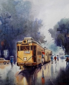 Sankar Das Paintings | Acrylic Painting - Monsoon Kolkata 5 by artist Sankar Das | ArtZolo.com