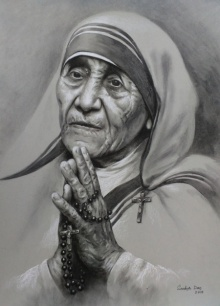 Mother Teresa 1 | Drawing by artist Sankar Das | | charcoal-pastel | paper
