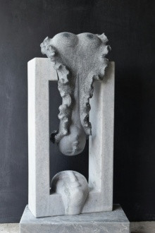 Marble Sculpture titled 'Attraction' by artist Pankaj Gahlot