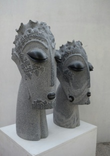 Black Marble Sculpture titled 'Couple 1' by artist Pankaj Gahlot