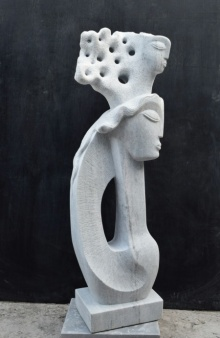 Pankaj Gahlot | Two Girl 1 Sculpture by artist Pankaj Gahlot on Makrana Marble | ArtZolo.com