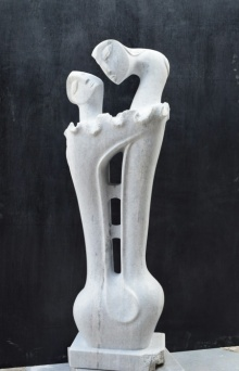 Makrana Marble Sculpture titled 'Two Girl 2' by artist Pankaj Gahlot
