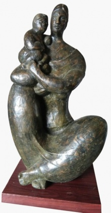 Mother And Child 4 | Sculpture by artist Shankar Ghosh | Bronze