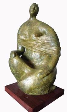Shankar Ghosh | Sitting Lady 2 Sculpture by artist Shankar Ghosh on Bronze | ArtZolo.com